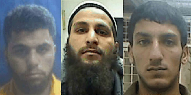 The three suspects belonging to the ISIS terror cell in Hebron: Ahmmad Shehadah (L), Qusai Meswadeh (C) and Muhammad Zerrue