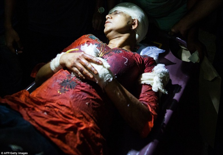 Survivor: Rafida Ahmed is pictured above being stretchered to hospital after the attack