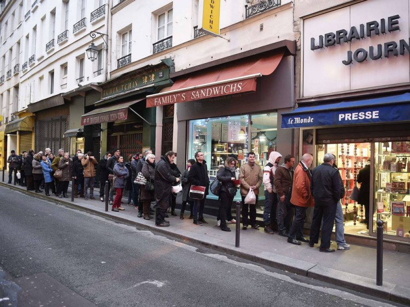 Lined up to buy Charlie Hebdo in London