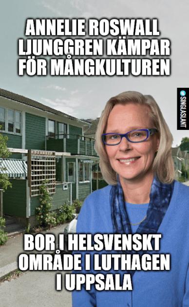 Annelie Roswall Ljunggren works hard for multiculturalism. Lives in fully Swedish neigborhood in Luthagen, Uppsala