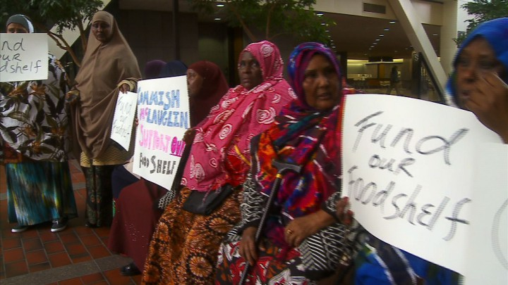 SOMALI MUSLIM immigrants demand more funding for the halal-compliant free food bank in Minneapolis
