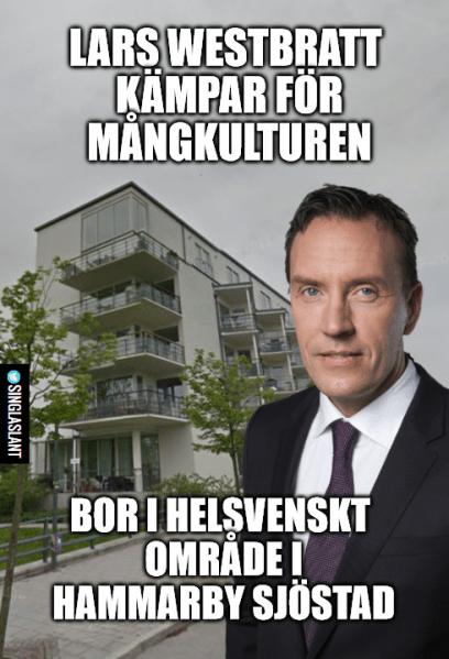 Lars Westbratt works hard for multiculturalism. Lives in fully Swedish neighborhood in Hammarby Sjöstad