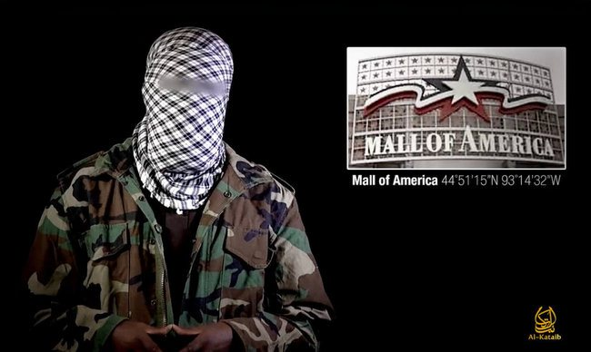 A masked man in a purported al-Shabaab video urges followers to use the 2013 Nairobi, Kenya, mall attack as inspiration for attacks on malls around the world including the Mall of America in Minnesota