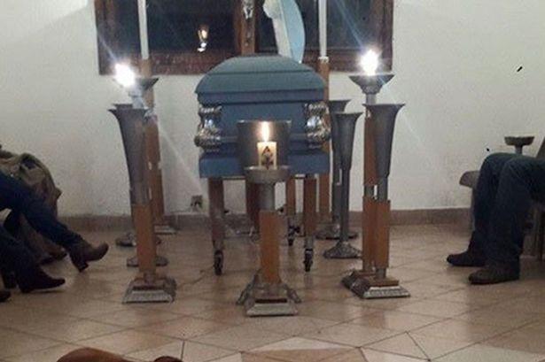 Stray-perros-asistir-funeral de-lady-que-usa-to-feed-les