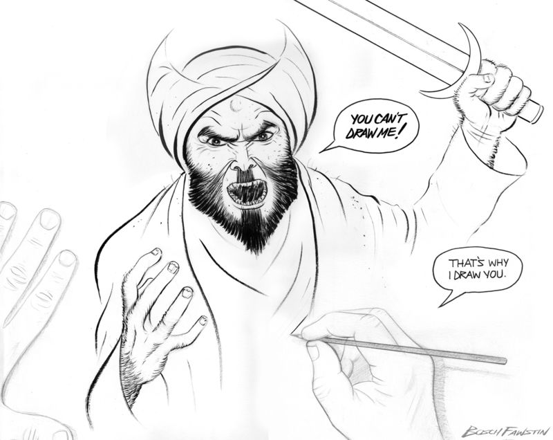 Bosch Fawstin's winning Muhammad cartoon