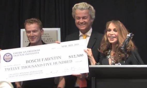 BOSH FAWSTIN (left) winner of Muhammad cartoon contest with Geert Wilders and Pamela Geller