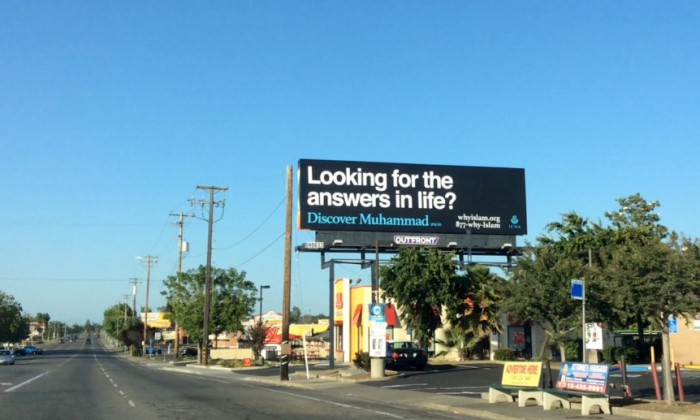 Handout photo of billboard sponsored by the Islamic Circle of North America