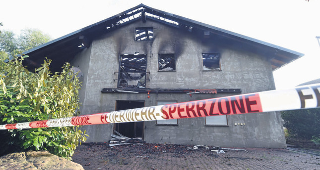 Exterior view on a planned Muslim refugees home that burnt down on July 18 in Remchingen,