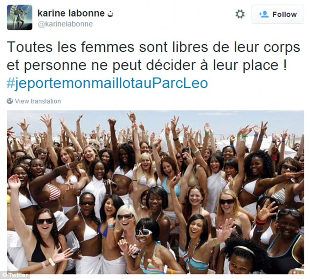 Caption says: 'All women are free in their bodies, and no one can decide for them.'