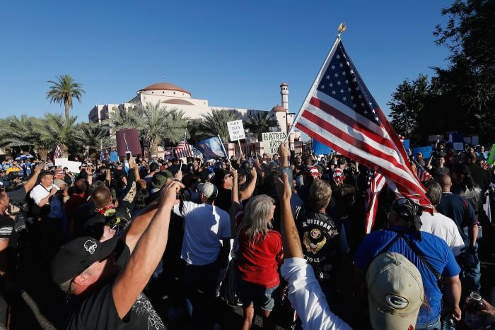 PHOENIX, AZ - MAY 29:  Protesters rally outside the Islamic Community Center on May 29, 2015 in Phoenix, Arizona.