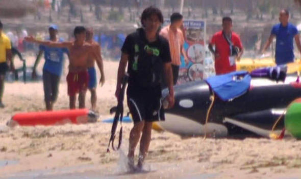 Muslim terrorist gunman on Tunisia resort beach