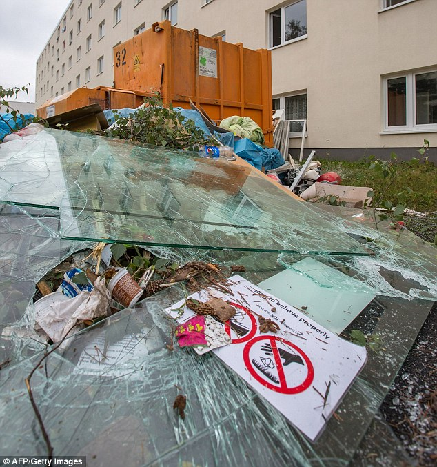 MUSLIMS destroyed windows of registration center for refugees in Suhl
