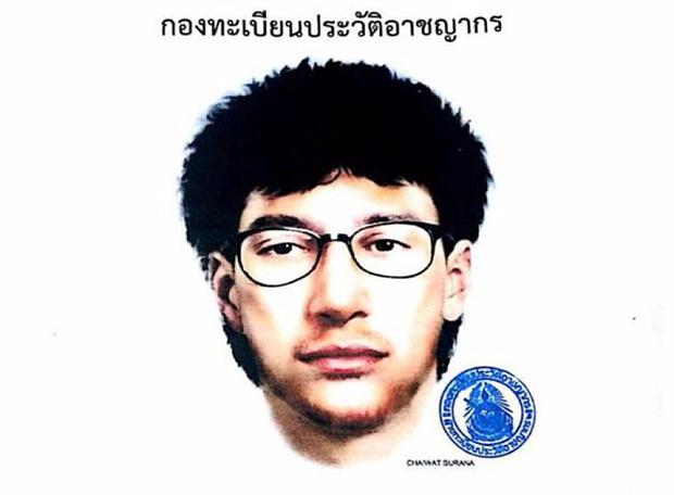 Artista de bosquejo-musulmana mirando bombardero Bangkok que dejó una mochila debajo de un asiento con las bombas en ella
