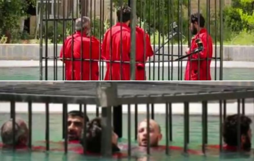 ISIS Slowly drowns prisoners in a cage