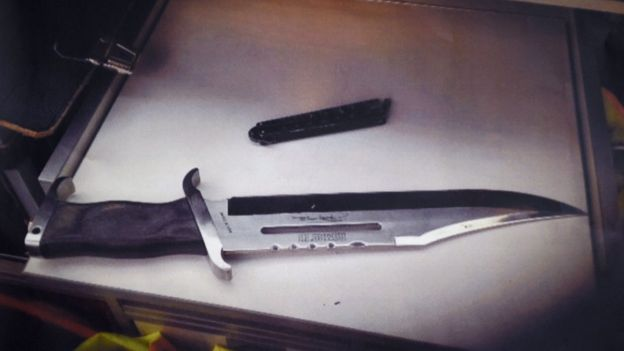 A police photo of the two knives used in the attack