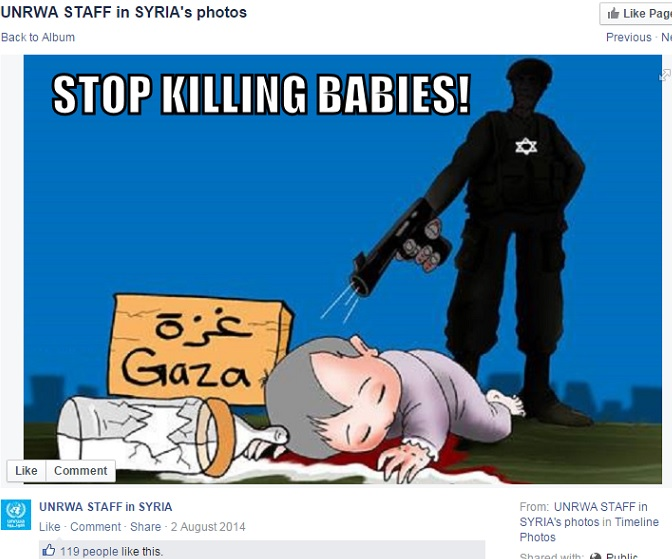 UNRWA-staff-in-Syria-Screenshot-Cartoon-and-UNRWA-link-Killing-babies-and-milk