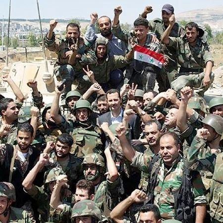 Syrian Security Forces with President Bashar Assad