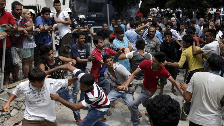 Muslim migrants brawling on the Greek island of Kos