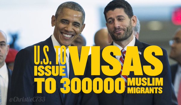 In December, House Speaker Rep. Paul Ryan (R-WI) successfully pushed through Congress his $1.1 trillion omnibus spending bill that will also fund visas for nearly 300,000 more Muslim migrants over the next 12 months.