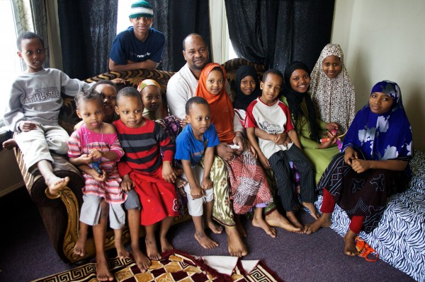 Typical Somali Muslim refugee family in America