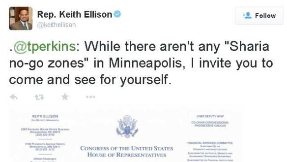 So says the MUSLIM congressman from Minnesotastan, Keith Ellison