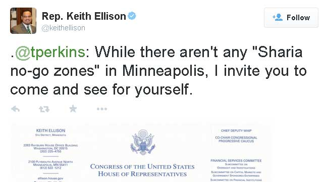 So says the MUSLIM congressman from Minnesotastan, Keith Ellison