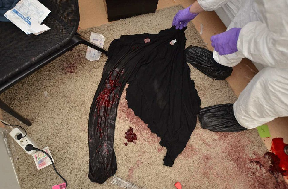 Miss Mezher's blood-soaked trousers show just how much blood the young woman lost in just 15 minutes