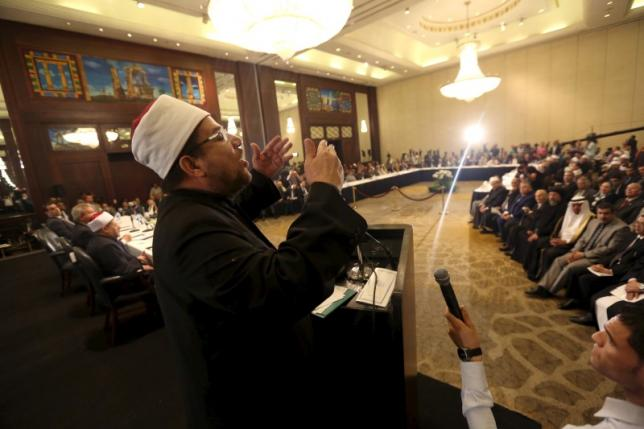 Awqaf Minister Mohamed Mokhtar Gomaa speaks during a conference held by the Awqaf (Religious Affairs) Ministry headquarters in Cairo