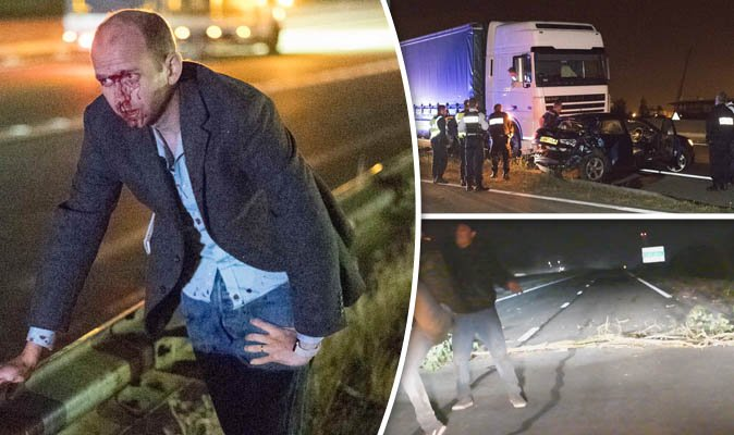 British driver narrowly avoided death after car hits lorry that is being swarmed by Muslim attackers trying to break into trucks in Calais headed for the UK