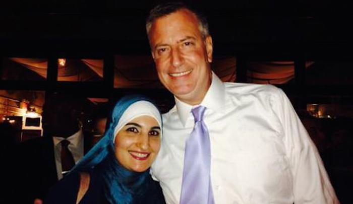 De Blasio, hugging radical Muslim Linda Sarsour, would rather see New Yorkers murdered by Islamic jihadis than offend his Muslim constituencies.