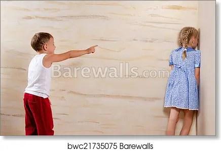 Two Cute Kids Playing Hide And Seek Art Print Poster