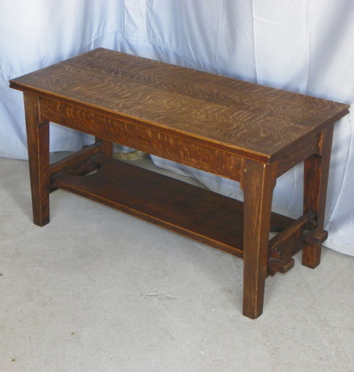 Bargain John S Antiques Antique Mission Oak Bench Made