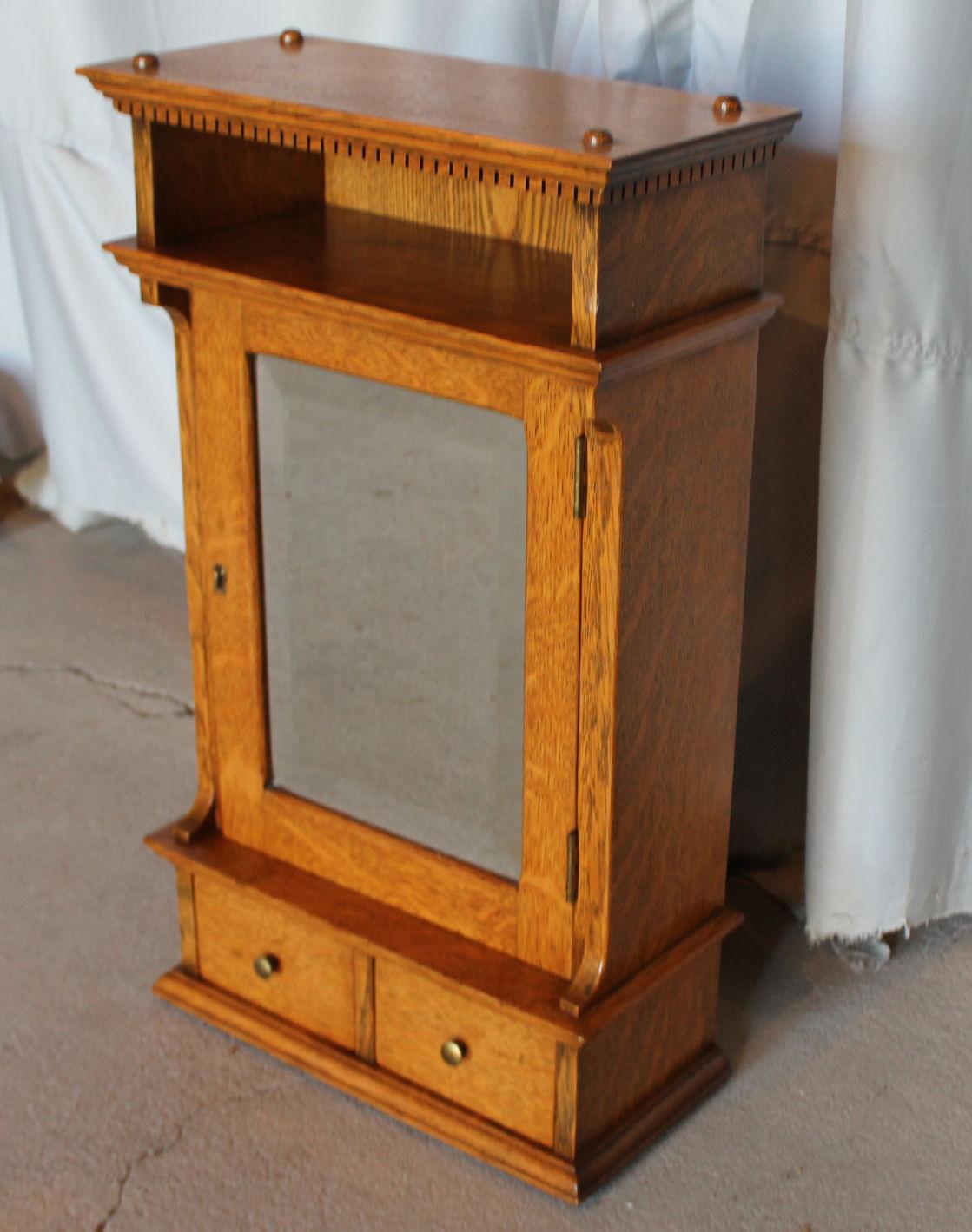 Bargain Johns Antiques Antique Oak Medicine Cabinet Beveled Mirror Door Bargain Johns