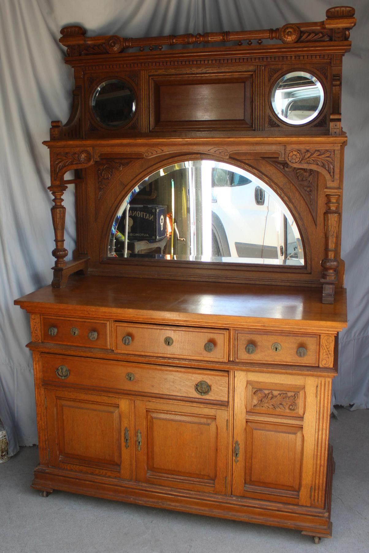 Bargain John S Antiques Antique Oak Sideboard Buffet Hidden Iron Strong Box In Drawer Bargain John S Antiques