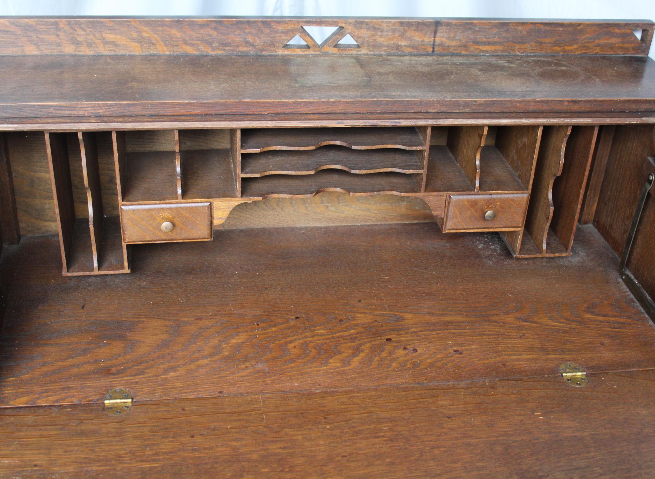 Bargain John S Antiques Antique Mission Oak Drop Front Secretary Desk Bargain John S Antiques
