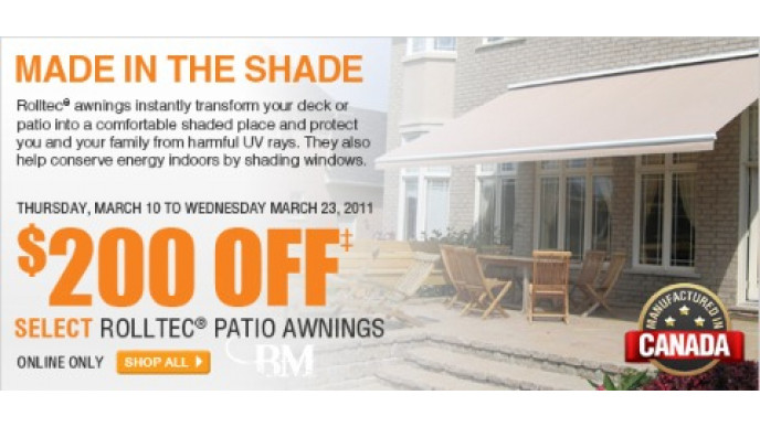 200 off select rolltec patio awnings