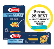 Barilla Gluten Free pasta with Parents magazine Allergy-Friendly award seal