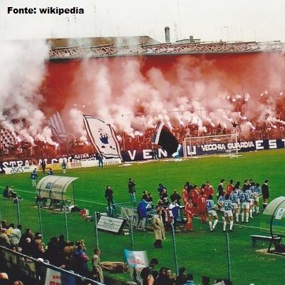 La Curva Campione dello stadio di Ferrara. E' il cuore del tifo della Spal