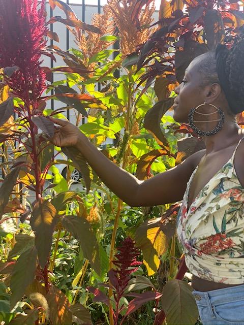 El propietario, Kymme, trabaja como voluntario en una granja urbana en Brooklyn.  Ella mira a la izquierda sosteniendo una hoja.