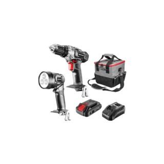 GRAPHITE Akkus gépkészlet 18V Energy+: akkus fúró + lámpa + táska +akku + töltő , Li-Ion 2.0Ah Minden termék