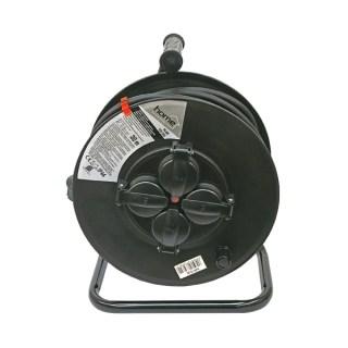 Villamos hosszabbító, dobra tekerve, 30m gumikábel, 4 db aljzat, IP44, 250V; Minden termék