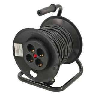 Villamos hosszabbító, dobra tekerve, 40m kábel, 4 db aljzat, 250V-10A; Minden termék
