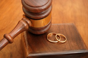 gavel and wedding bands