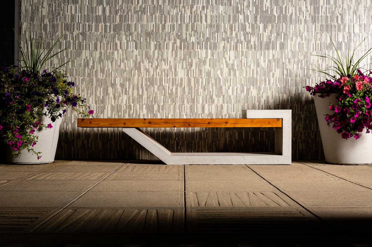 One40Two Bench with Cast Planters