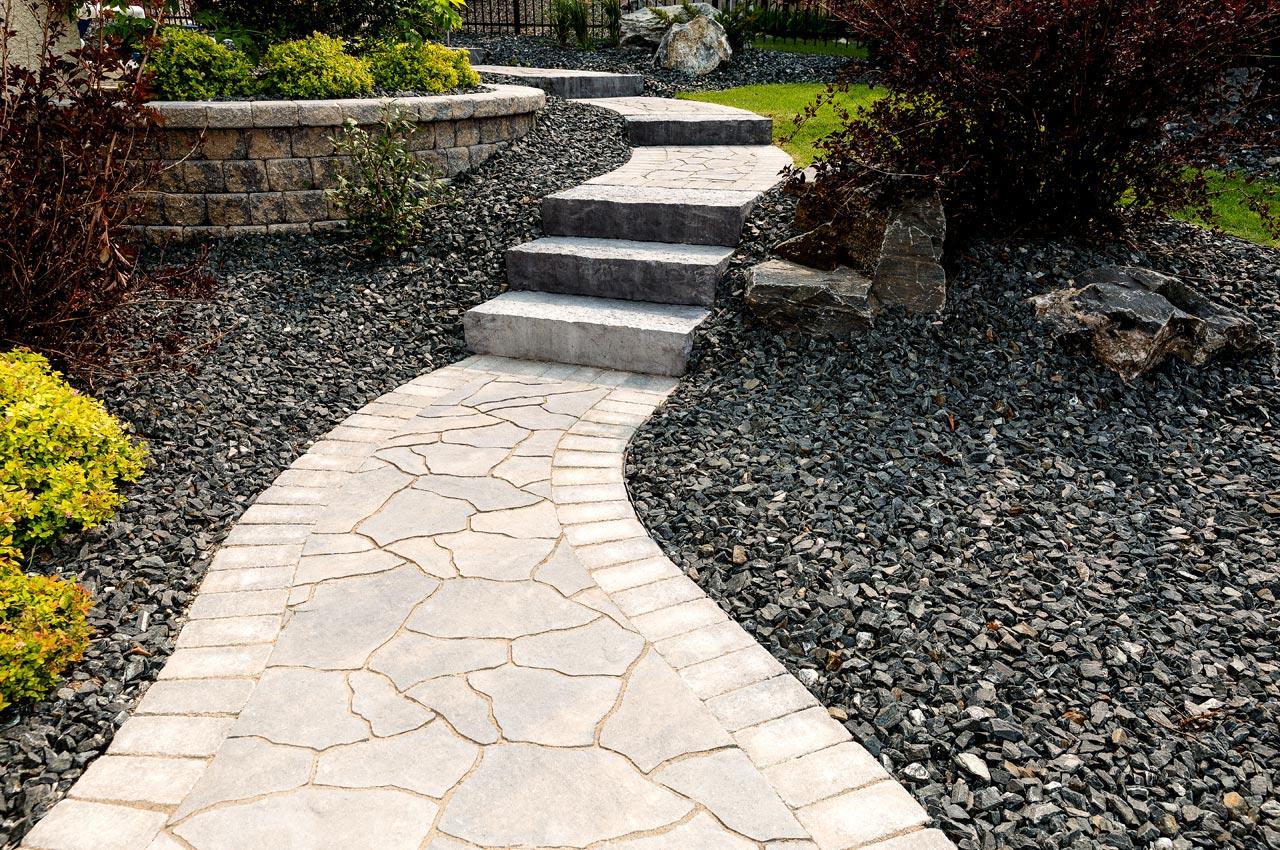 natural flagstone in a concrete paver