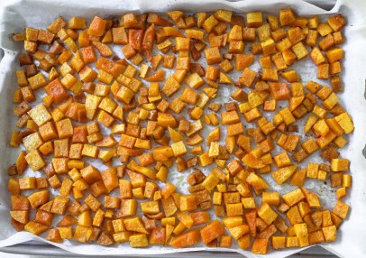 roasted butternut squash on a pan