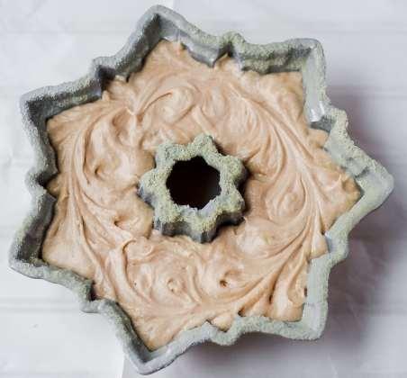 cake batter in star bundt pan