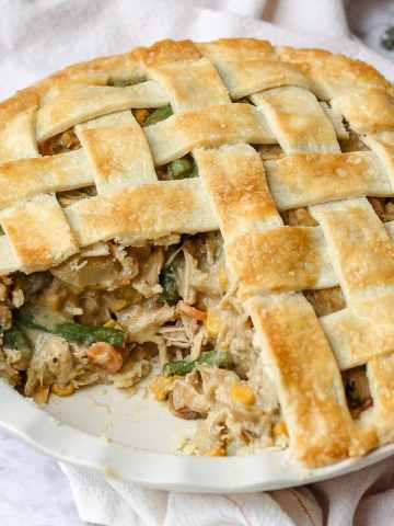 chicken pot pie with piece cut out