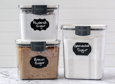 pantry staples like different sugars in storage containers