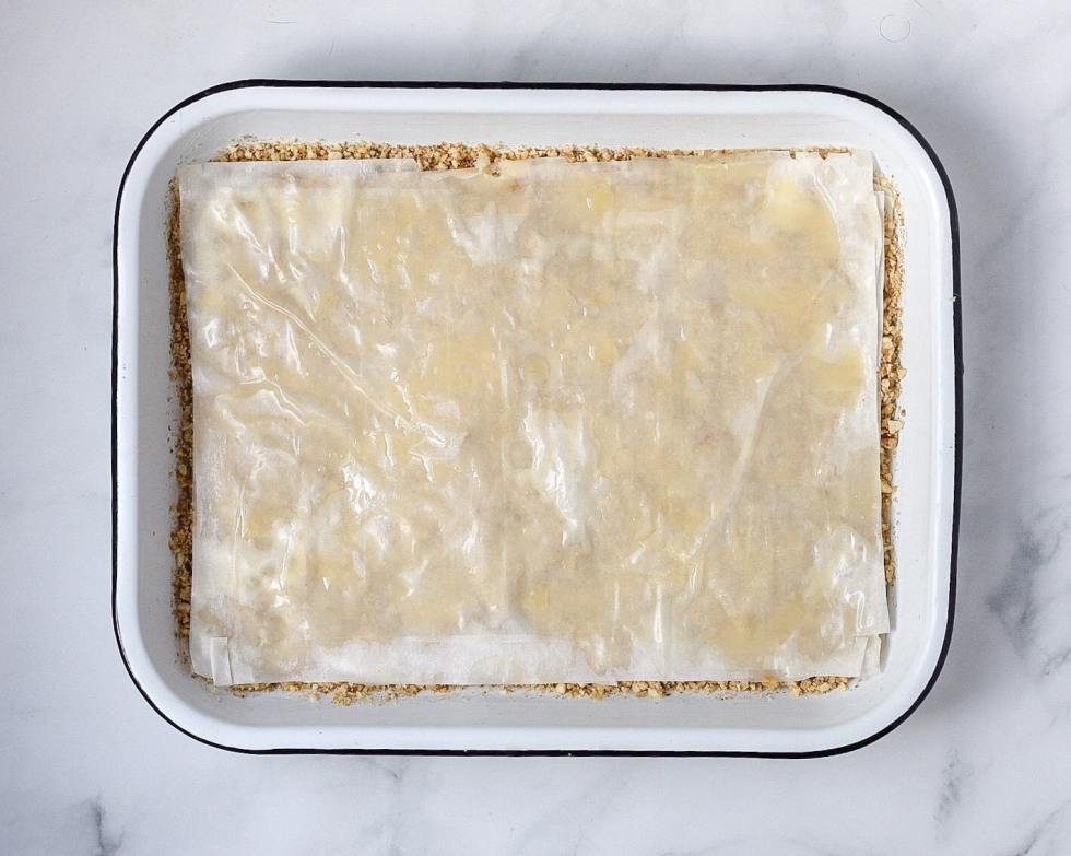 sheets of buttered phyllo dough